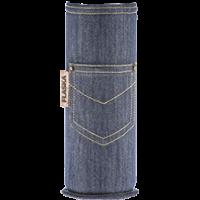 Glazen waterfles beschermhoes katoen jeans